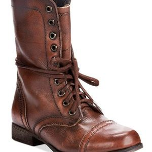 Steve Madden Troopa Brown Leather Combat Boots